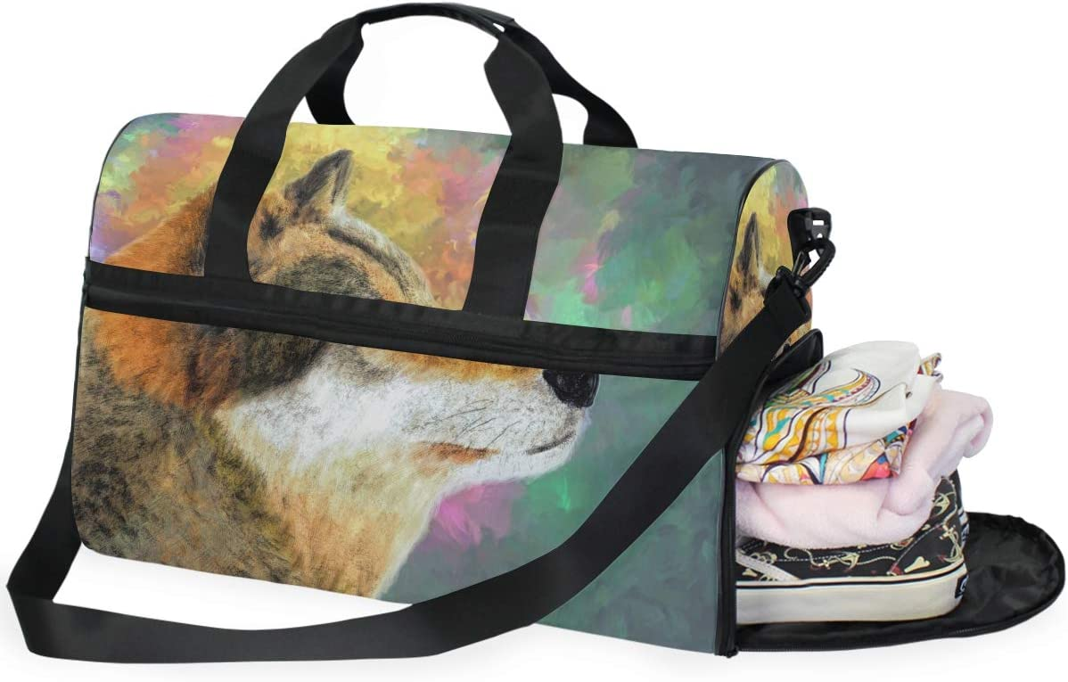 AHOMY Wolf Sports Gym Bag with Shoes Compartment Travel Duffel Bag
