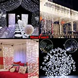 Window Curtain String Lights,300 LED Icicle Fairy Twinkle Starry Lights for Christmas Xmas Wedding Party Home Decoration Fairy Lights Wedding Party Home Garden Decorations(3mX3m, Pure white)