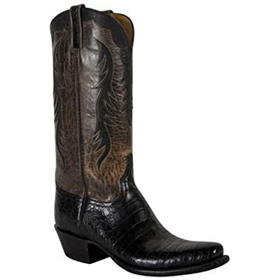 Lucchese Classics Black & Grey Ultra Caiman Belly Western Boots