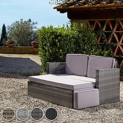 tectake Rattan Day Bed Lounge Sofa with Stool Light Grey