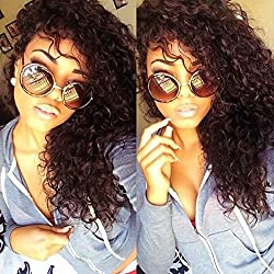 Eayon Hair Curly Full Lace Human Hair Wigs-Glueless 130% Density Brazilian Virgin Remy Wigs with Baby Hair For African Americans Natural Color 16Inch
