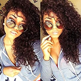 Eayon Hair Curly Lace Front Human Hair Wigs-Glueless 130% Density Brazilian Virgin Remy Wigs with Baby Hair for Women