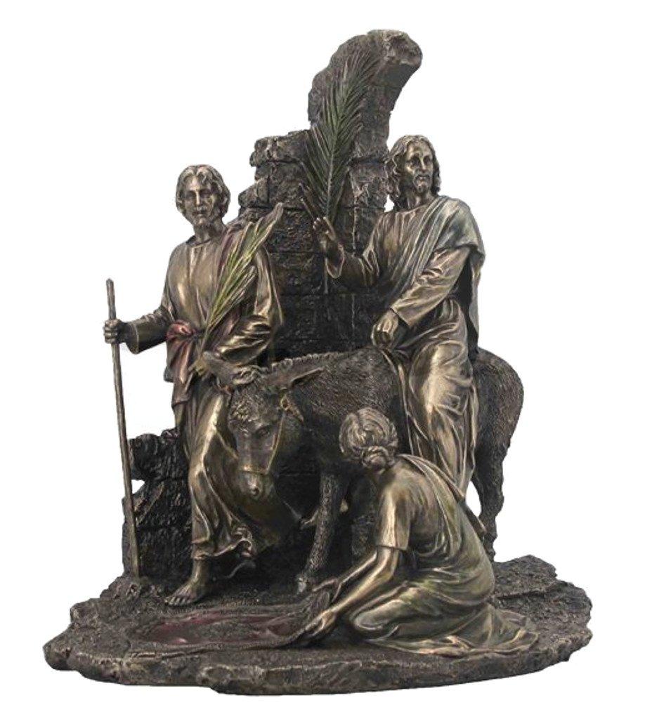 Palm Sunday, Jesus Riding Into Jerusalem On A Donkey, Cold Cast Bronze Statue Figurine by Masada Goods