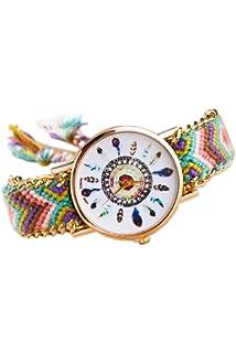2fe3a9630bba Reloj de pulsera - SODIAL(R)Reloj de pulsera de cadena trenzada de oro