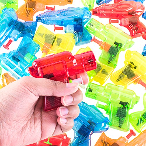 Mini Colorful Squirt Water Guns Plastic Blasters for Kids Birthday Party Favors, Pool Beach Toys, Hot Summer Classic Water Games (30 Pack) by Super Z Outlet
