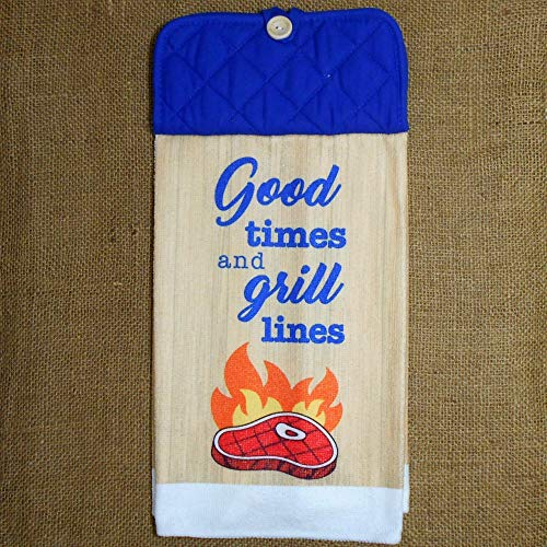 Good Times And Grill Lines Microfiber Hanging Dish Towel, Kitchen Decor