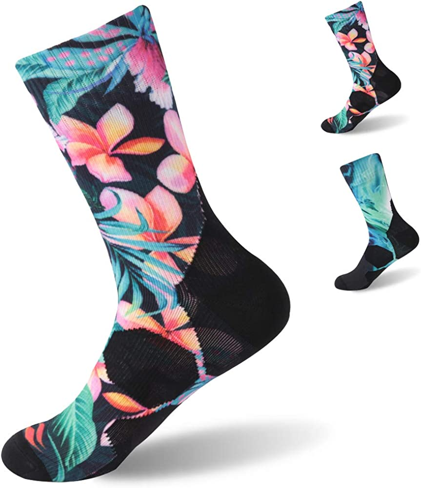 100% Waterproof Digital Printing Socks, Men's Outdoor Sports Crew Socks For Hiking Backpacking Workout