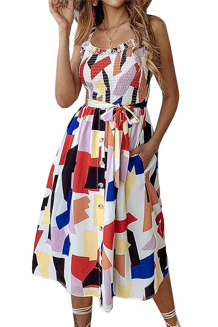 color 1 Yoyoma Womens Sun Dresses Summer Sunfloral Print Spaghetti Strap Button Beach Casual Midi Dress