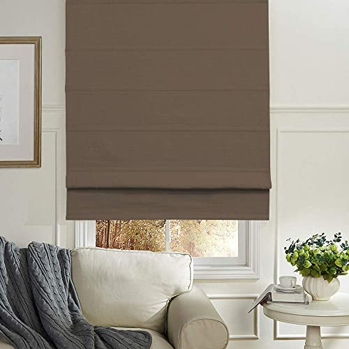 Artdix Roman Shades Blackout Window Shades – Brown 67.5 W x 96L Inches Faux Linen Fabric Custom Solid Lined Roman Shades Blinds for Windows, Doors, French Doors, Kitchen Windows
