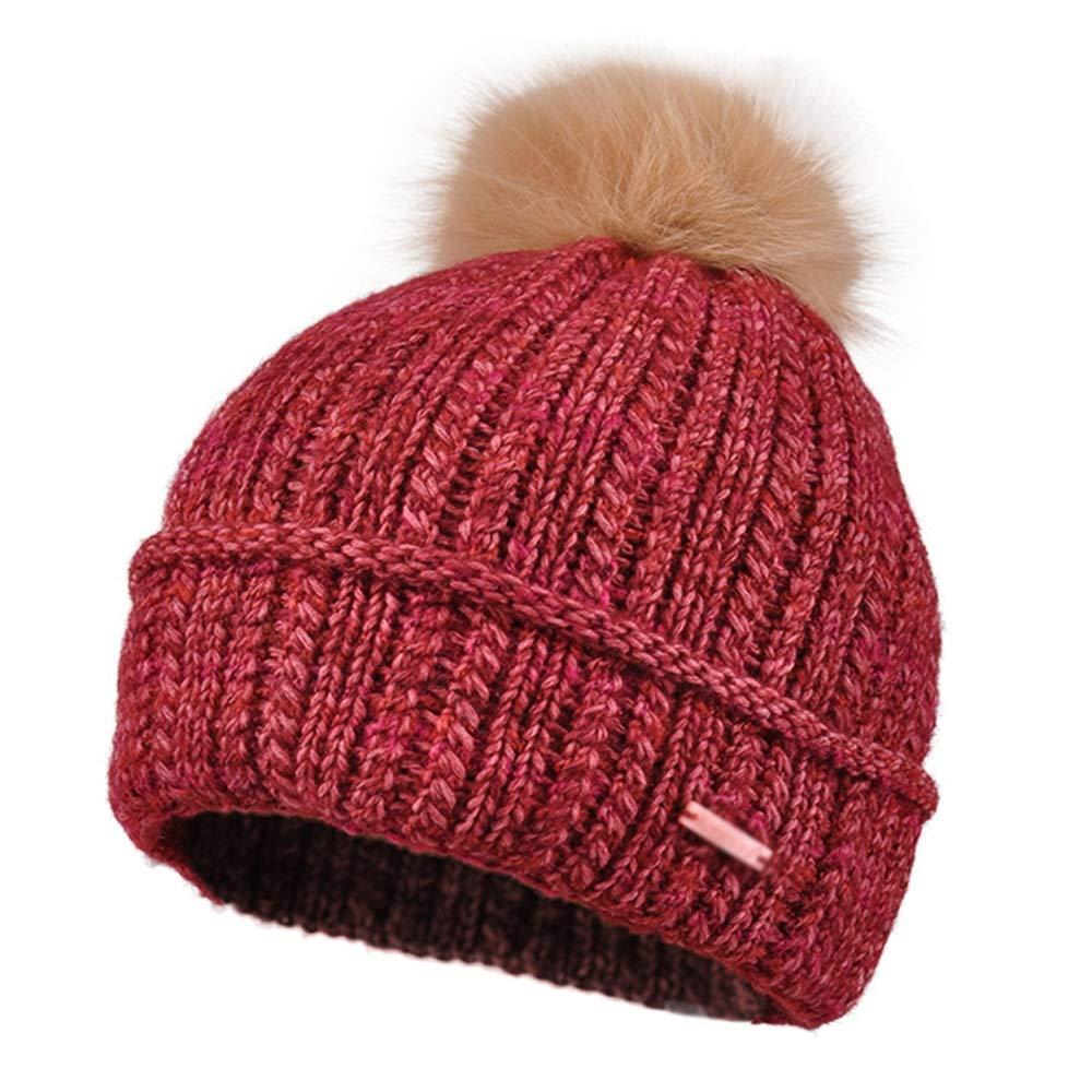 GLJF ニット帽子、秋冬婦人用防風ウォームカラー帽キャップ着脱式ニット帽 (色 : Red)  Red B07JJ5BX9B