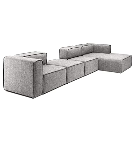 Amazon.com: L-Shaped 3 Seater Right Sectional Chaise Modern ...
