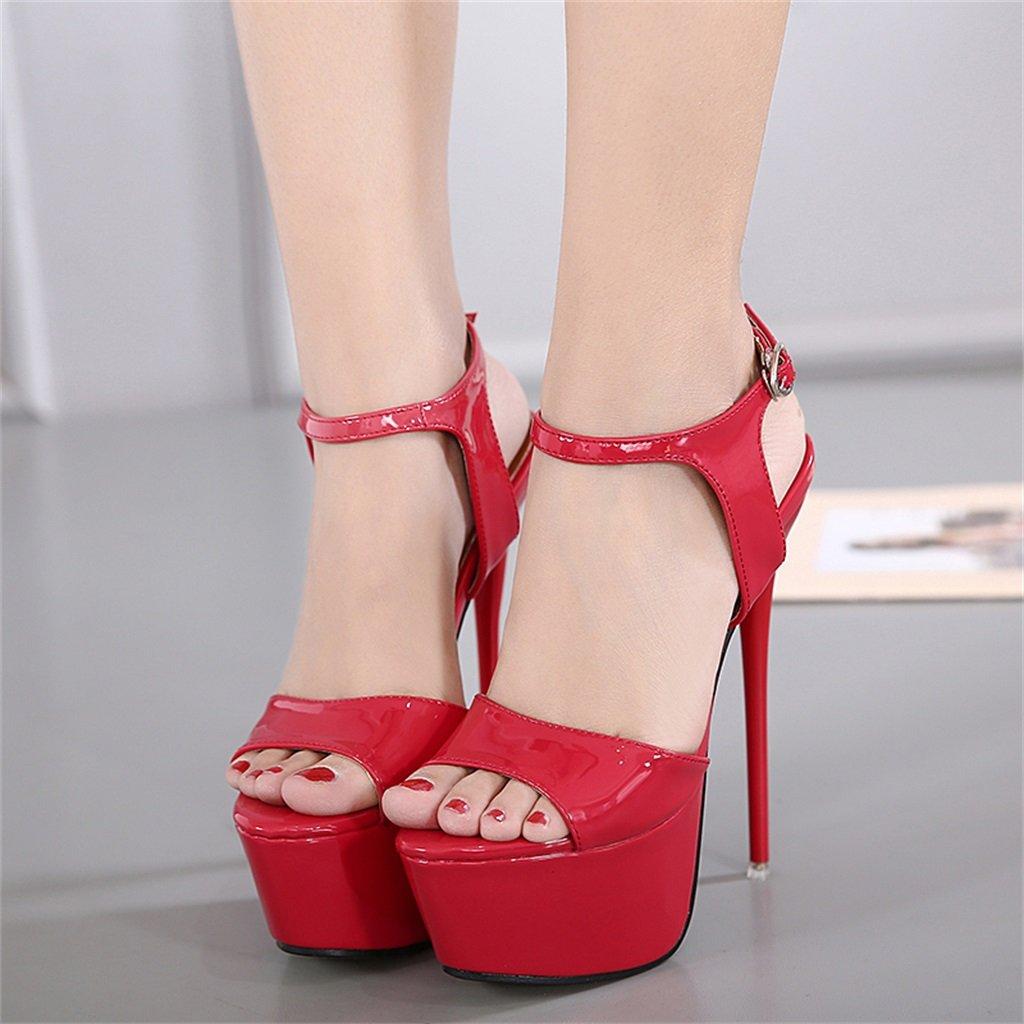 ALUK- Europa und die Temperament Vereinigten Staaten Wild Fashion High-heeled Temperament die mit Damenschuhe ( Farbe : Rot , größe : 40 ) Rot 60b6ec