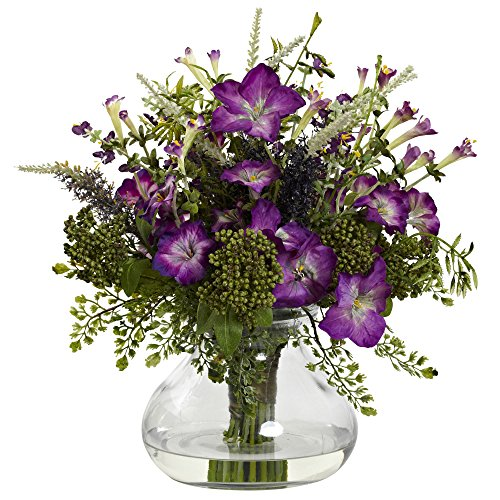 Nearly Natural 1375 Mixed Morning Glory with Vase, Large