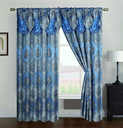 (RT Designers Collection Vernon Damask Jacquard 54 x 84 in. Rod Pocket Single Curtain Panel w/Attached 18