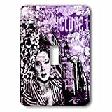 3dRose Andrea Haase Art Illustration - Retro Woman Illustration Urban Style In Black White And Purple - Light Switch Covers - single toggle switch (lsp_271213_1)