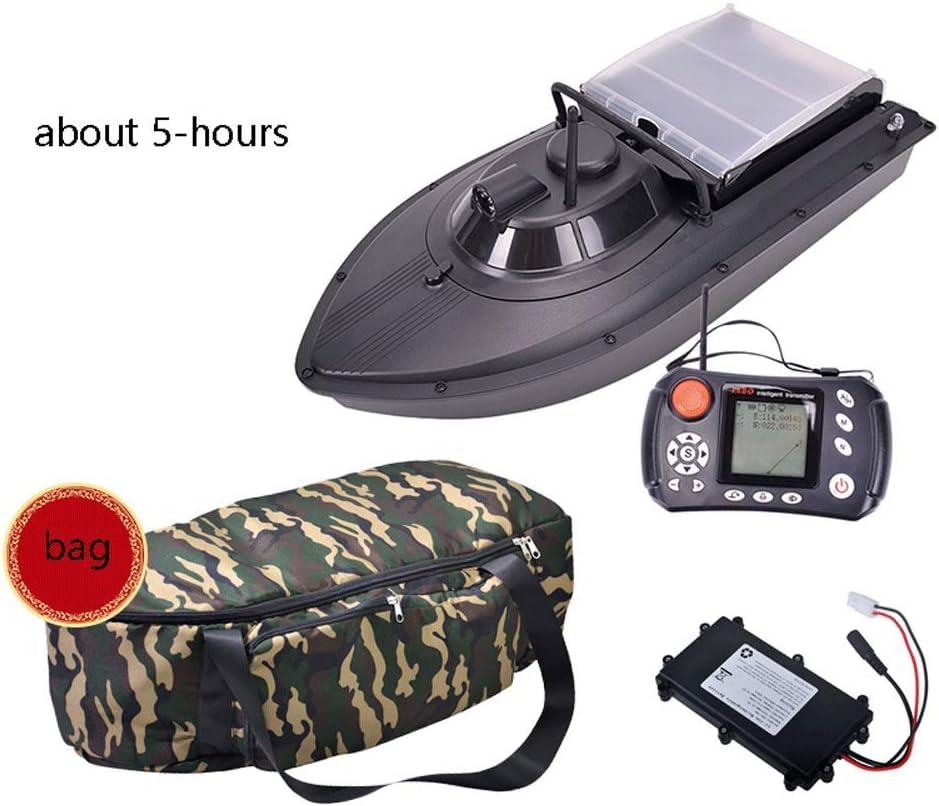 AILZNN Barco De Señuelo De Piloto Automático, Sonda GPS Barco De Cebo De Pesca RC Boat Control Remoto Inalámbrico Fish Finder con Doble Motor Y Luz Nocturna,Black-B