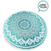 Mandala Life ART Bohemian Decor Floor Cushion - INSERT INCLUDED - Round Meditation Pillow Pouf - 100% Hand Printed Organic Cotton by (Turquoise Lotus)