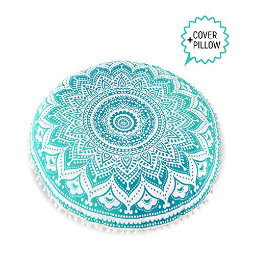 Mandala Life ART Bohemian Decor Floor Cushion - INSERT INCLUDED - Round Meditation Pillow Pouf - 100% Hand Printed Organic Cotton by (Turquoise (Bohemian Art)