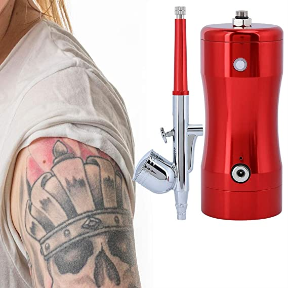 capacidad de 7CC para pintura dise/ño de u/ñas uso m/últiple Mini pistola de pulverizaci/ón con compresor de aire con punta de boquilla de 0,3 mm tatuaje Kit de sistema de aerograf/ía con aer/ógrafo