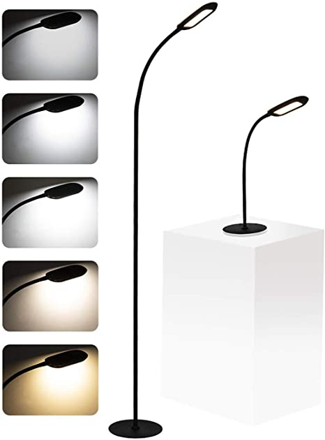 Amazon Com Shalomlite Floor Lamp Desk Lamp 2 In 1 Dimmable Task Lamp With 5 Brightness Levels 3 Color Temperature Flexible Gooseneck Touch Control Floor Lamp For Reading Crafting Black Home Improvement