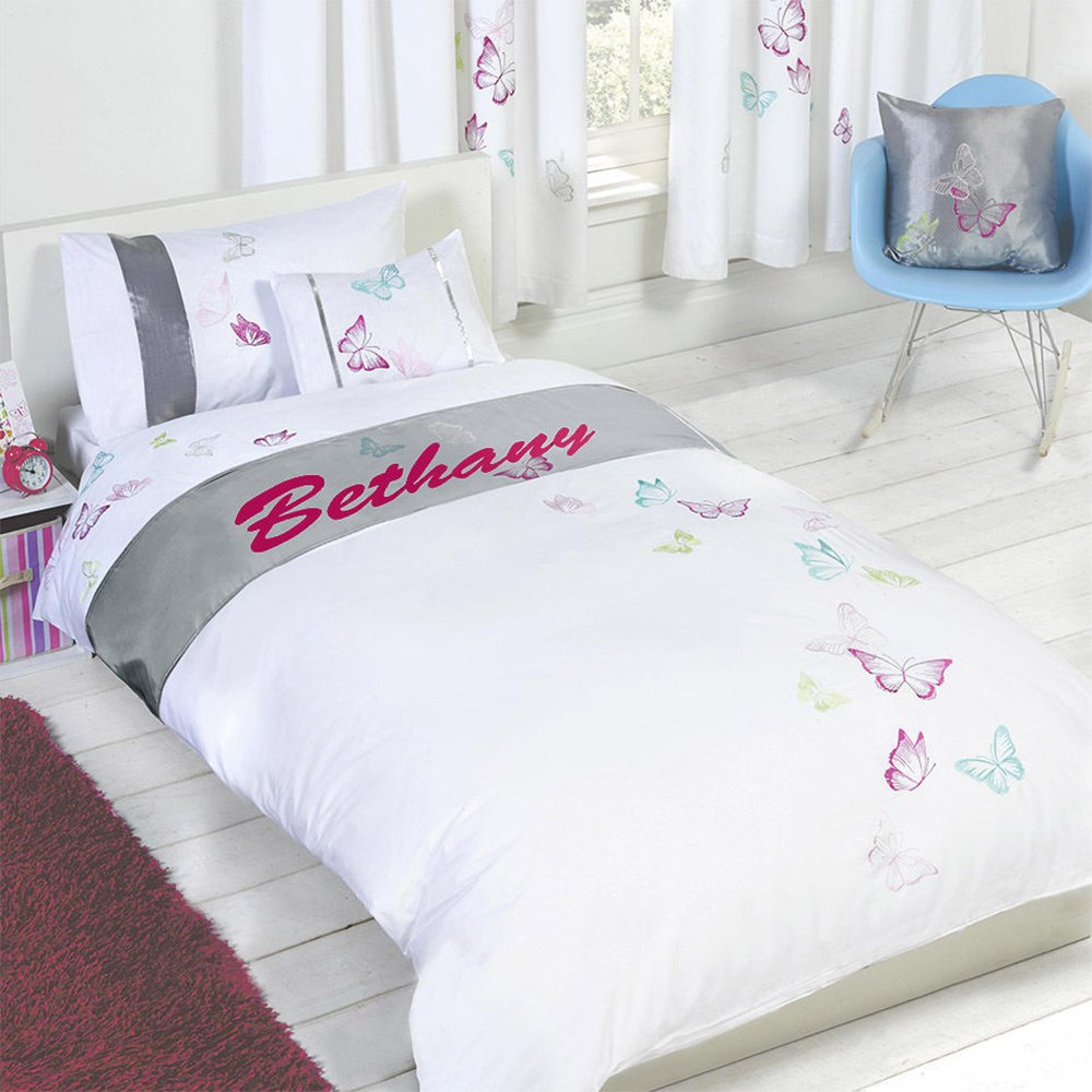 Tobias Baker Personalised Butterfly Duvet Cover Pillow Case Bedding Set-Bethany Double White Silver Grey