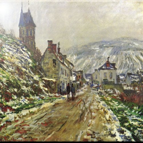 Rikki Knight 12' x 12' Claude Monet Local Entrance of Vetheuil in Winter Design Ceramic Art Tile