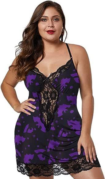 Padaleks Women Plus Size Babydoll Lingerie Back Crisscross Lace Trim Chemise Sleepwear Set G-String Nightdress