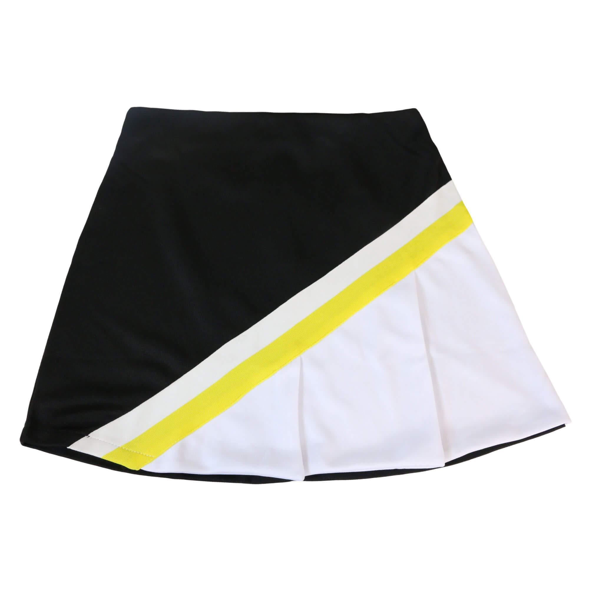 Danzcue Child Cheerleading A-Line Pleat Skirt, Black/White, X-Small