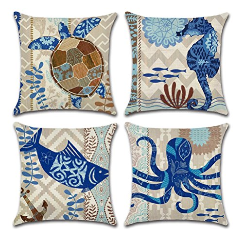Wencal Ocean Style Decor Cotton Linen Throw Pillow Case Cover for Square 18x18 Inch Pillow Inserts, Pack of 4 (Style Decor Ocean)