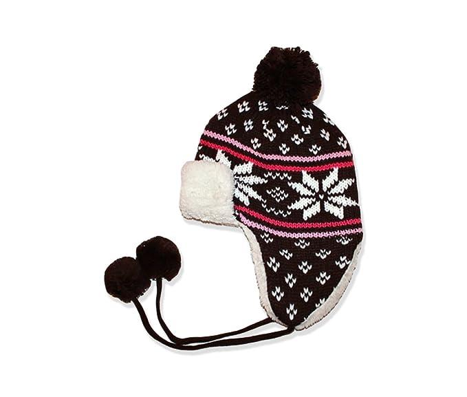 872da30a00e Insulated Womans Aviator  Trapper Hat w  Snowflake Winter Designs (Brown)
