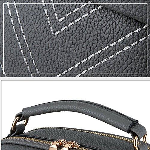 Espeedy Verano Bolsos De Las Mujeres De Cuero Bolas De Peluche Hoja Verde Zipped Messenger Bag Damas De Las Niñas Casual Bolsas De Hombro Para Compras oscuro gris