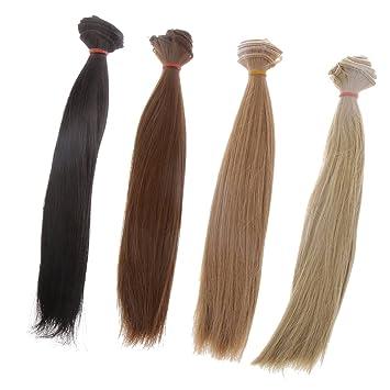 homyl moda 25 x 100 cm Straight pelo DIY peluca de repuesto para 1/3