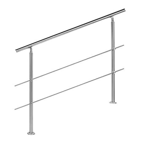 Gel/änder f/ür seitliche Montage an Treppen Balkone und Terrassen mit waagerechten Streben 140 cm mit 2 Pfosten ohne Querstreben 30mm