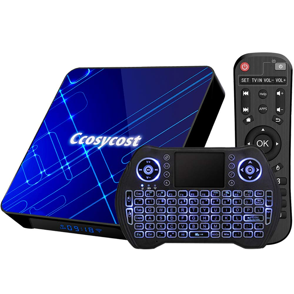 Android TV Box 10.0 4GB 32GB Smart TV Box RK3318 Set Top Box with Backlit Wireless Keyboard USB 3.0 Ultra HD 1080P 4K HDR Dual Band WiFi 2.4 5.8GHz BT 4.1 Android Box