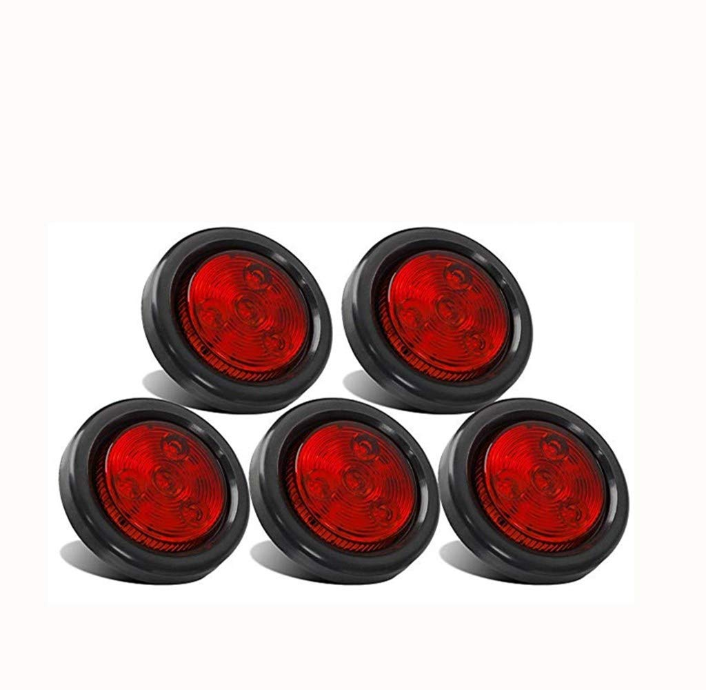 JUNGLE ROAD CAR SUPPLIES Red LED Marker Light - 5pcs 2'' Red Round Sealed Clearance Marker Light 4 LED Mount Grommet/Pigtails