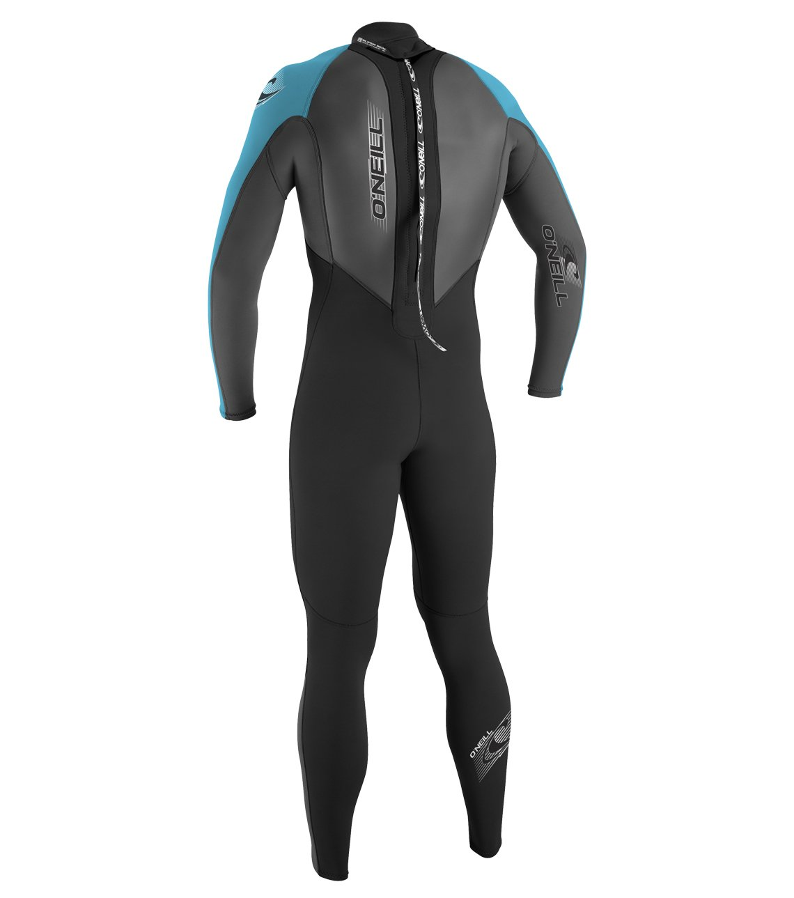 O'Neill Youth Reactor 3/2mm Back Zip Full Wetsuit, Black/Graphite/Turquoise, 12 by O'Neill Wetsuits (Image #2)