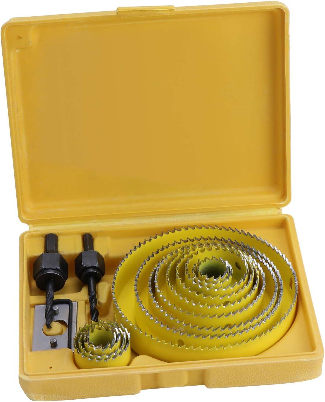 HSEAMALL Juego de 17 sierras de agujero de acero al carbono de 19 – 127 mm, herramientas de brocas para madera, placas de yeso, plástico