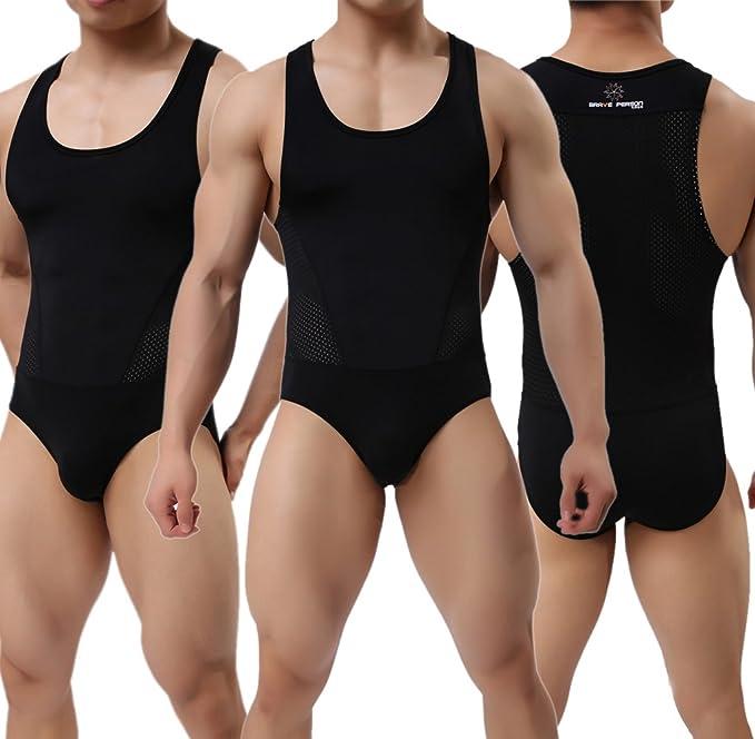 Men/'s Bodysuit Swimsuit Bodybuilding Fitness Shirt Sports Leotard Swimwear S M L
