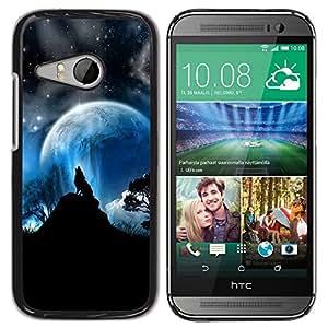 TECHCASE**Cubierta de la caja de protección la piel dura para el ** HTC ONE MINI 2 / M8 MINI ** Wolf Moon Mountain Trees Night Sky Forest