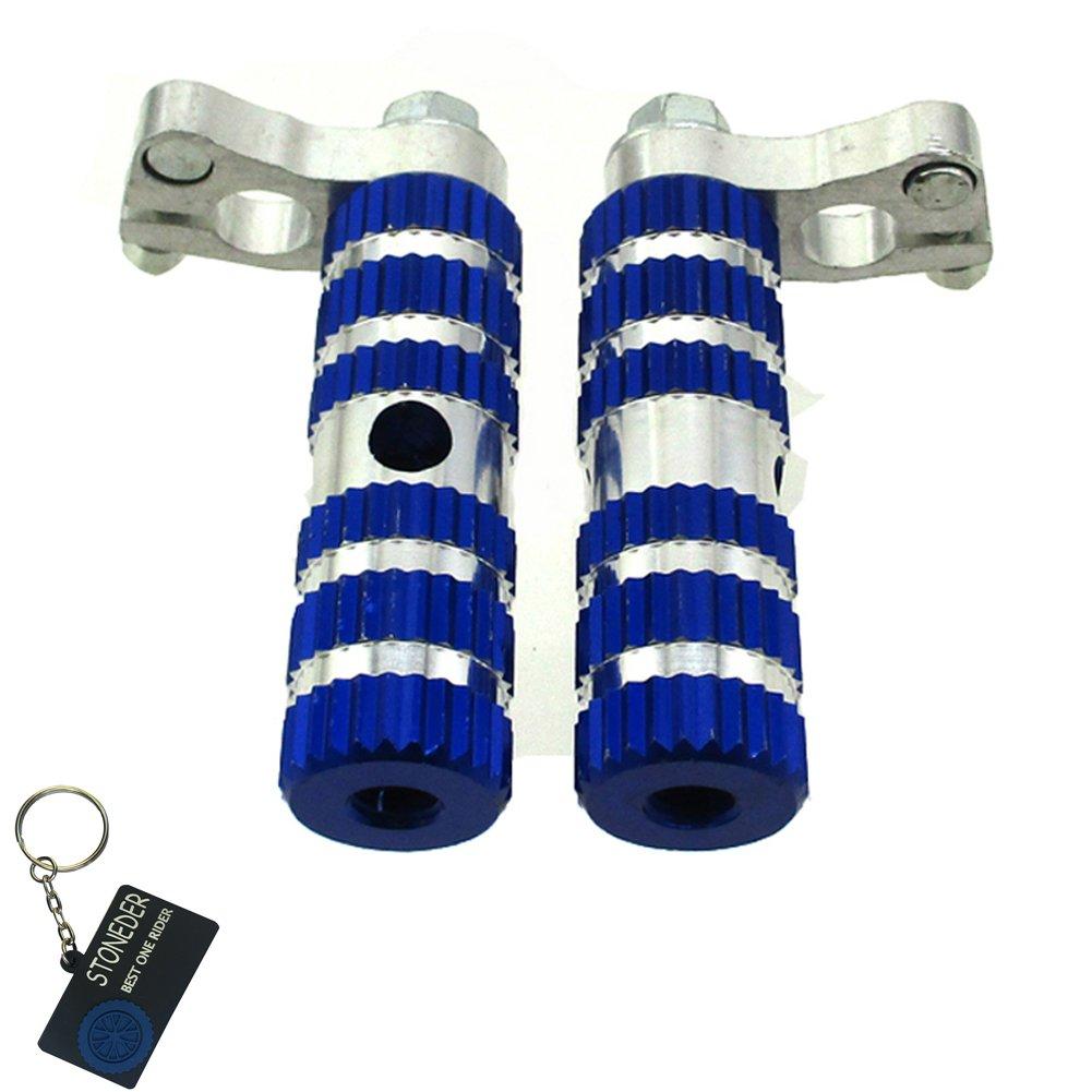 Stoneder, pedane poggiapiedi da moto, in alluminio, di colore blu, pioli per la maggior parte di minimoto cinesi MTA1 e MTA2 a 2 tempi 47cc, 49 cc