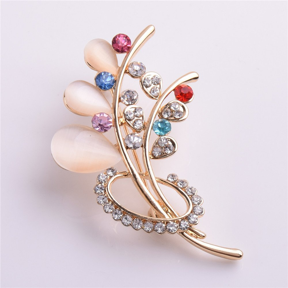 Cats Eye Stone Colorful Flowers Crystal Brooch Christmas Clothing Accessories MAFYU Brooch