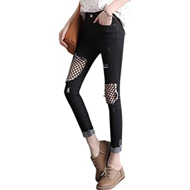 b8ef2d5ab27 Swellog Summer Women Jeans Knee-Net Plus Size Jeans Skinny Pencil ...