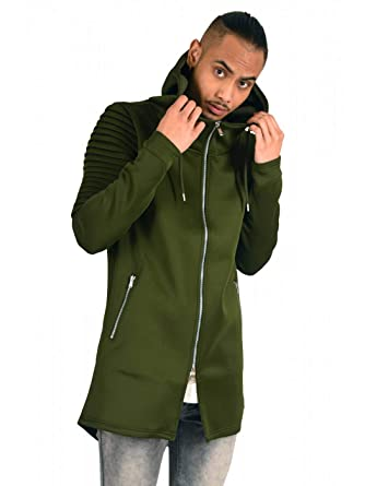 d001ee6f0fd33 Project X Paris Veste Longue à Capuche Manches Biker Homme: Amazon ...