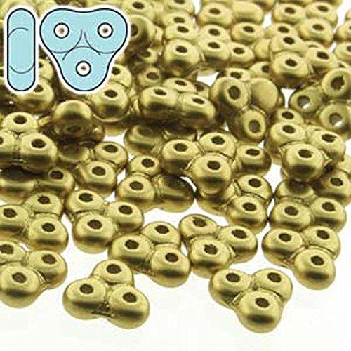 - Czech Glass, 3-Hole Trinity Beads, 8x8mm, 8 Gram Tube, Matte Metallic Olivine