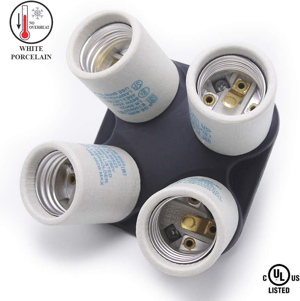4 in 1 Studio E26 Socket Splitter Adapter Photo Light Lamp Bulb Base Holder