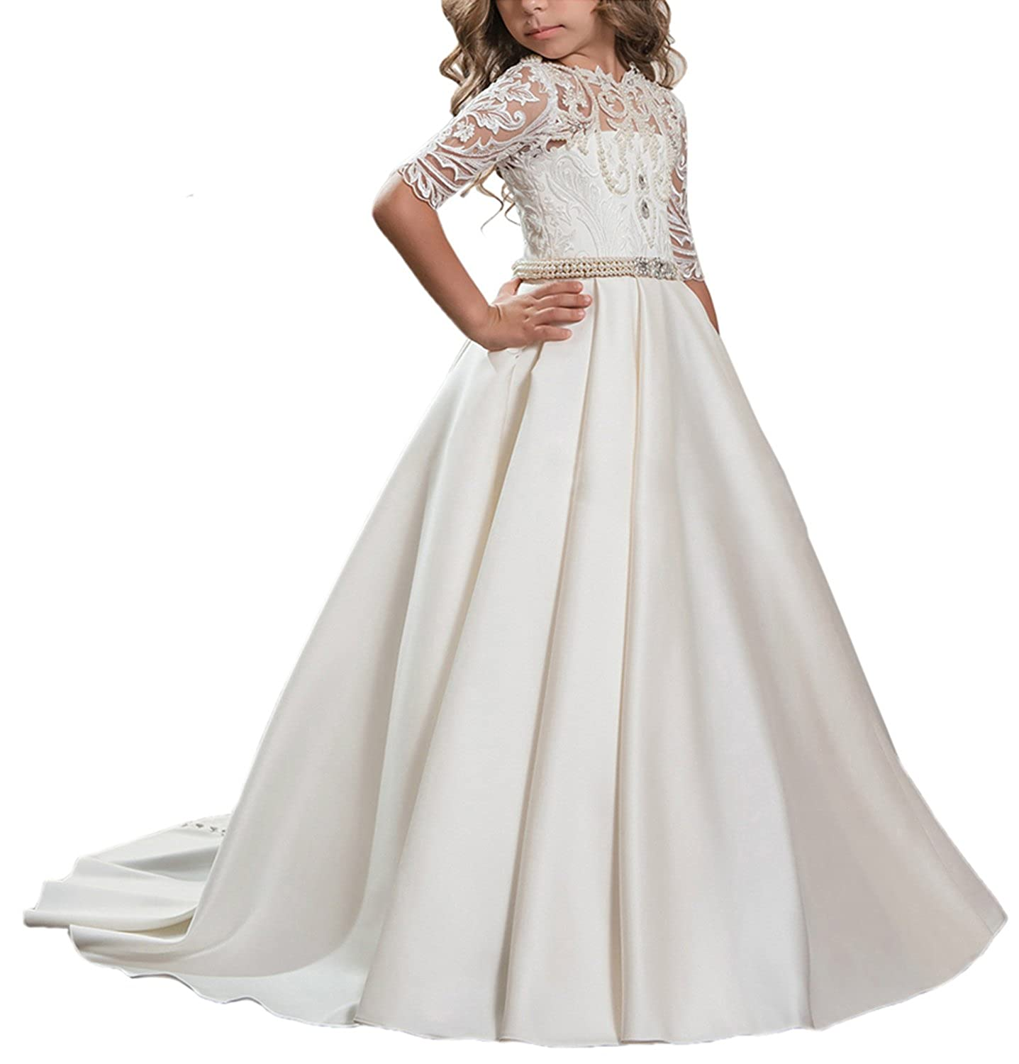 514c027225ab PROMNOVAS Girl's Half Sleeves Satin Flower Girl Dresses First Communion  Dresses: Amazon.ca: Clothing & Accessories