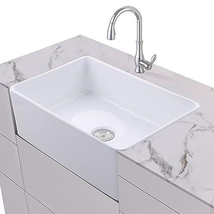 KES Fireclay Sink Farmhouse Kitchen Sink (30 Inch Porcelain ...