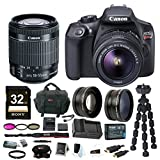 Canon EOS Rebel T6 DSLR Camera w/ EF-S 18-55mm IS II Lens + 32GB SD Card, Extra Battery and Charger, Filter Kit, Wide Angle And Telephoto Lenses & Bundle