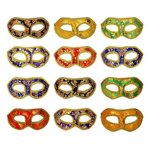 Tasseled Mardi Gras Mask - Color You 12 Pcs Masquerade Mask