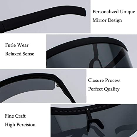 Ibeauti Oversized Visor Sunglasses Face Shield Flat Top Mirrored Mono Lens 172mm